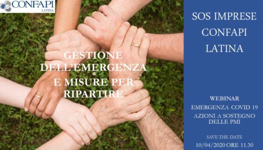 SOS IMPRESE 4: GESTIONE DELL'EMERGENZA  E MISURE PER RIPARTIRE- WEBINAR 10.4.2020 ORE 11.30